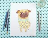 Original Watercolor Painting, Pug Art, Colorful Dog Art, Quirky Art, Dog Lover Gift, Watercolor Illustration, Dog Artwork, Colorful Wall Art