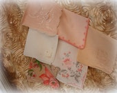 6 assorted vintage hankies in shades of peach and coral 5 embroidered and 1 printed hanky