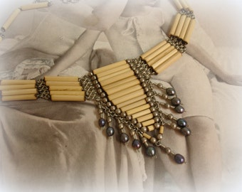 vintage boho bamboo and pearl tribal necklace