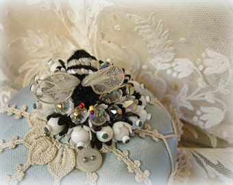 vintage two tone beaded brooch with chenille bee . bee brooch black and white flowers with swarovski rhinestones and crystals
