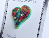 HEART pin or pendant//recycled textile art//PARROT LAGOON//Blue Green Aqua Orange//Rainbow //Fabric Jewels//unique fiber millefiori jewelry
