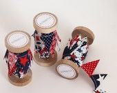 Patriotic Cake Bunting, Red White Blue fabric Ribbon. 4th of July cake top. Balloon tail tie, American party, Banner, journal embelishment