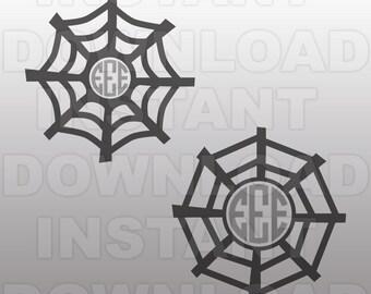 Cobweb Spider Web Monogram SVG File