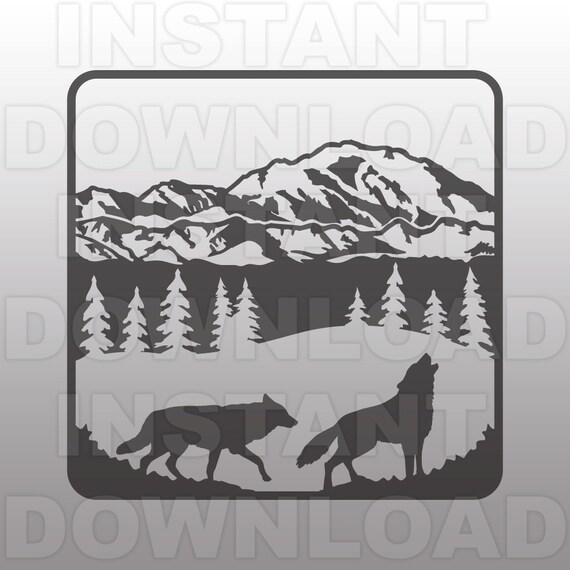 Wolf Mountain Scene Svg Filewolf Svg Filewolves Svg