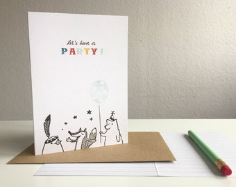 Let's have a party - greeting card - A6 - 100% ECO recycled paper // Invitation card for birthdays, weddings, kids..