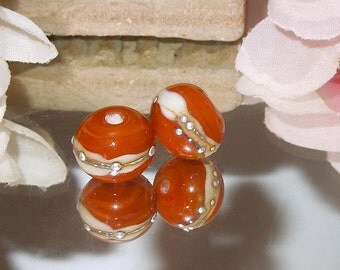 Handmade Lampwork Glass Round Bead Pair SRA DIY-Bastet's Beads-Autumn Orange