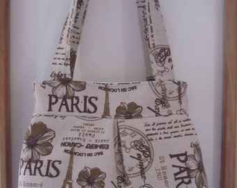 Shabby Chic Linen Pleated Handbag Purse Ipad Netbook Tote French Country