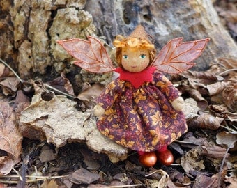 Miniature Art Doll - Autumn Leaves Pixie