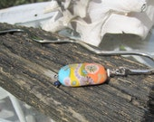Colorful lampwork bead Silver metal  book mark