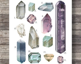 Vintage Gemstones and Minerals art print | Watercolor gemstones and crystals | Hand painted semi precious stones | geology decor Printable