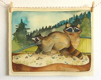Original Raccoon Illustration - Original Watercolor Painting - Original Art - Raccoon Watercolor Painting - Raccoon Artwork - Two Raccoons