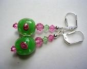 Green Pink Earrings Lampwork Flowers Swarovski Crystals in Silver Wire Wrapped Leverback Hooks