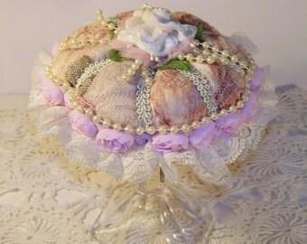 Pink, Shabby Chic,  Pin Cushion, Pincushion, Romantic, Victorian, Vintage, Retro