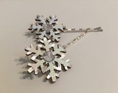 Glittering Snowflakes v.4 - Individual Snowflake Hair Pin, iridescent crystal, Perfect Stocking Stuffer, Secret Santa Gift, Great f
