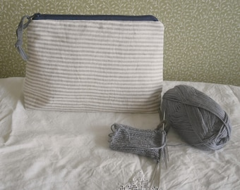 zipped project bag: linen stripes RESERVED FOR MICHELLE