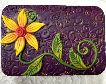 Flower Garden Polymer Clay Covered Tin