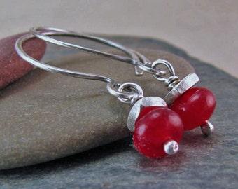 Rubellite Tourmaline Earrings Oxidized Silver Rustic Jewelry Ruby Red Gemstone Earrings Sterling Silver Circle Earrings Open Hoops