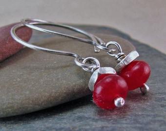 Rubellite Tourmaline Earrings Oxidized Silver Rustic Jewelry Ruby Red Gemstone Earrings Sterling Silver Circle Earrings Small Open Hoops