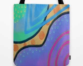 Colorful Abstract Art Tote Bag Shopping Bag Beach Bag My Funky Abstract Painting