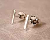 7mm x 2mm Brushed Silver Bar Earrings Modern Silver Studs by Susan SARANTOS on Etsy