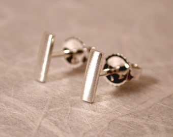 7mm x 2mm Brushed Silver Bar Earrings Modern Silver Studs by Susan Sarantos