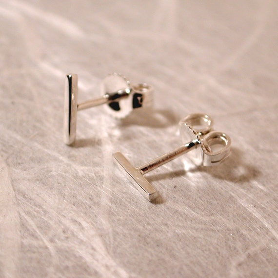 7mm x 1mm simple line earrings thin sterling silver bar studs