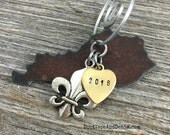 KENTUCKY | Rustic 2016 Christmas Ornament | Cowboy Boot Pickup Truck Horse Fleur de Lis Charms, Handstamped Brass Tag | FREE SHIPPING