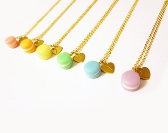 macaron necklace, custom alphabet initial personalization