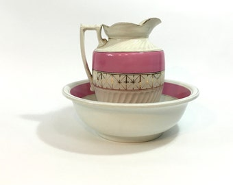 English Pink and Gold Pitcher and Wash Basin ~ Pitcher and Basin ~ Large Pink Cream Gold Water Pitcher and Wash Basin