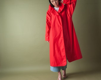 red cross collar trench coat / COLORBLOCK trench coat / vintage 80s midi coat / s / 1074o / R4