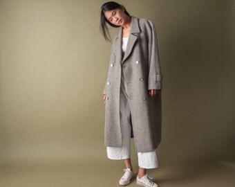 gray chevron tweed wool coat / vintage 80s coat / oversized wool coat / m / 1003o