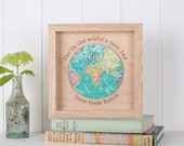 Personalised Best Dad In The World Print - Gift for men - husband gift - fathers day gift - gift for dad - world map - atlas