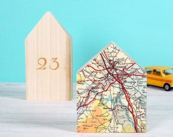 Little House Map Location Ornament - world map -  personalised map gift - new home gift - home decor - wooden ornament - engagement gift