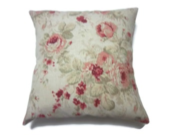 Decorative Pillow Cover Traditional Floral Design Roses Red Pink Shades of Green Natural White Toss Throw Accent 18x18 inch x