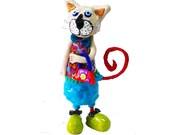 Modern Cat sculpture, whimsical cat , cat art ,cat sculpture, collectible, cat, home design,  cat lover ,gift ideas, green and blue