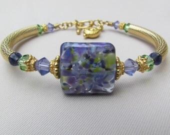 Lavender Lace Lampwork Bangle Bracelet