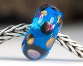 Turquoise Dotty Lustre Bead Handcrafted Lampwork Glass European Charm Big Holed Bead by Clare Scott SRA