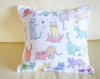 Cats Everywhere   Cross Stitch Pillow   Custom Cross Stitch