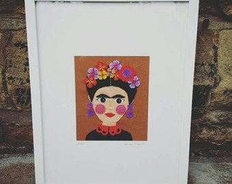 Frida limited edition textile picture in felt with freeform hand embroidery