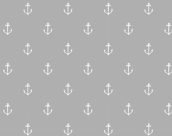 Out To Sea by Sarah Jane Anchors Away Gray Michael Miller Fabric