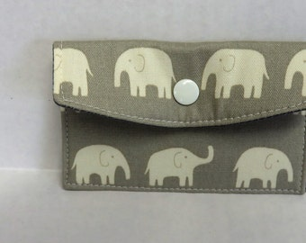 Mini Wallet - Gift Card Holder - Debit Credit Card Case -  Business Card Case  - Snap Closure - Cream Elephants on Gray Fabric