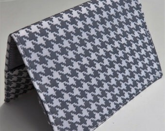 Passport Holder Cover Case Travel Cruise Vacation Holiday Honeymoon - Gray and White Houndstooth Fabric
