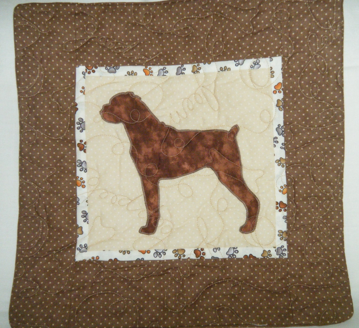 BOXER with ears down Quilted Dog throw pillow by doodlebugquilts