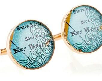 Key West Map Cufflinks  Golden Bronze  Heirloom  Antique Florida Atlas Free Shipping