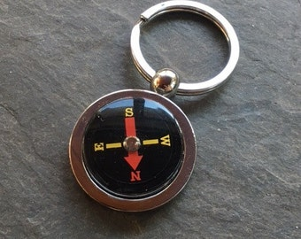 Compass Keychain Chain Ring Traveler Dad  or Mom Adventure It Works! Fob KeyRing Free US Shipping  Yellow Red on Black