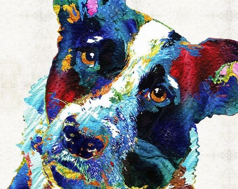Colorful Border Collie Dog Art PRINT from Painting Pet Portraits Cute Rainbow Animal Pop Art CANVAS Ready To Hang Fun Funny Herding Dogs