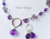 Purple rain- Fine/sterling silver,amethyst necklace and earrings set