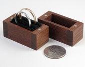 Walnut Ring Box, Proposal Ring Box, Wedding Ring Box, Ring Bearer Box, One or Two Ring Box