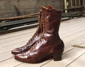 Victorian Brown Leather Lace Boots Size 5