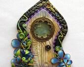 Fancy Window Fairy Door in Blue with a Big Gem